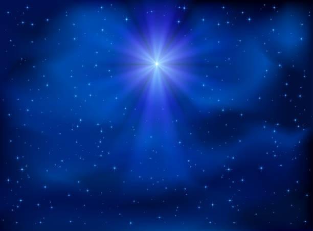 stockillustraties, clipart, cartoons en iconen met sky and christmas star - kerstster