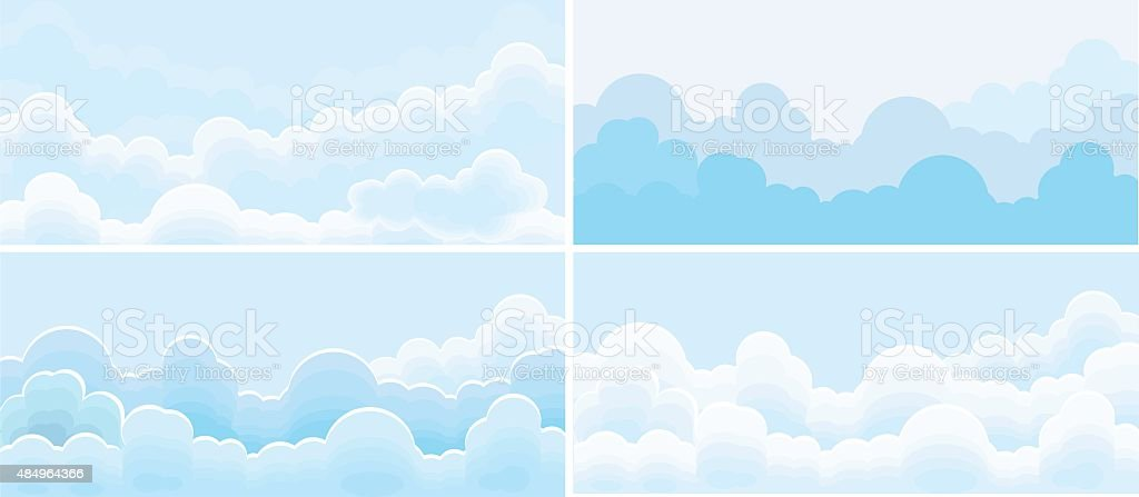 Sky and cloud set vector art illustration