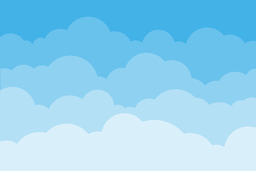 Sky and clouds. Background sky and cloud with blue color. Cartoon cloudy background. Vector illustration.