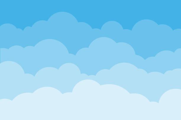 空と雲。背景の空と青い色の雲。曇っている背景を漫画します。ベクトルの図。 - 空点のイラスト素材/クリップアート素材/マンガ素材/アイコン素材