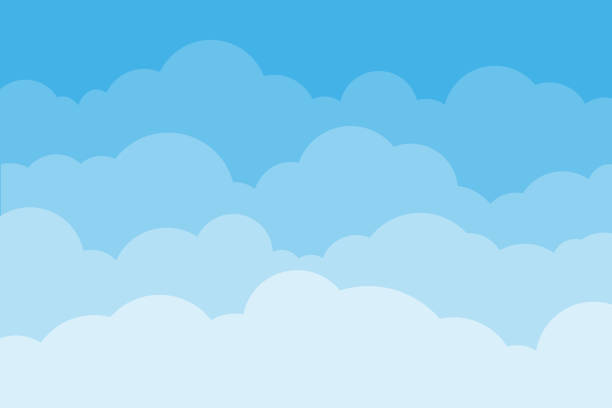 sky and clouds. background sky and cloud with blue color. cartoon cloudy background. vector illustration. - chmura stock illustrations