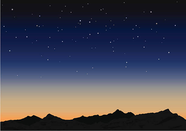 Sky and mountains. Vector illustration Night starry sky and mountains. Vector illustration night stock illustrations