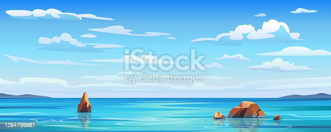 istock Sky and sun at sea background, ocean and beach vector island scenery empty flat cartoon. Ocean or sea water with waves and clouds in sky, summer blue seascape with cloudy sky and seaside panorama 1264799981