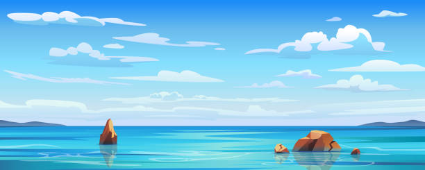 海の背景に空と太陽、海とビーチベクトル島の風景空のフラット漫画。空に波と雲が浮かび上がった海や海水、曇り空と海辺のパノラマを持つ夏の青い海景 - 空点のイラスト素材/クリップアート素材/マンガ素材/アイコン素材