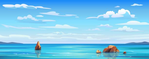 bildbanksillustrationer, clip art samt tecknat material och ikoner med himmel och sol till sjöss bakgrund, hav och strand vektor ö landskap tom platt tecknad. havs- eller havsvatten med vågor och moln på himlen, sommarblå havslandskap med molnig himmel och panorama över havet - himmel