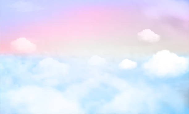 sky background and pastel color. EPS 10 Pastel gradient blurred sky,sunset background. Soft focus sunshine bright peaceful morning summer. Rays light clean beach outdoor with abstract bokeh smooth. Open view relax landscape spring cloud. pastel colored stock illustrations