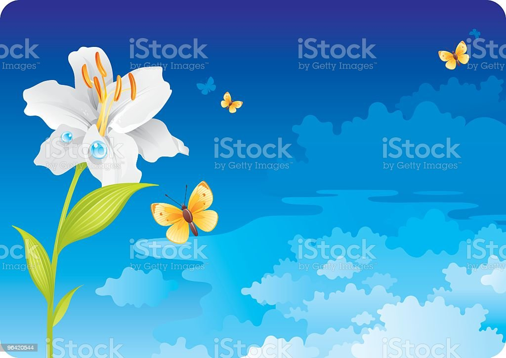Sky background with lily royalty-free stock vector art