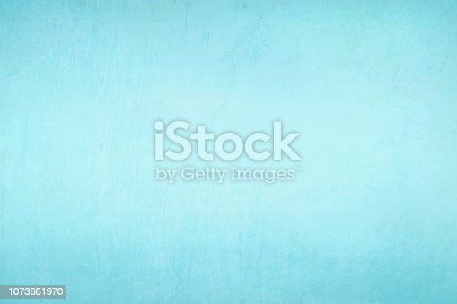 Sky blue, aqua blue colored blotched paint effect bright wall texture vector background- horizontal - Illustration. Blank. No people. No text. Colour Gradient. copy space. vignetting