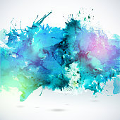 Sky blue centered decorative watercolor background