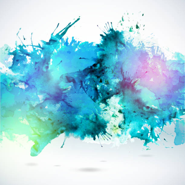 himmelblau sich dekorative aquarell hintergrund - wasserfarben hintergründe stock-grafiken, -clipart, -cartoons und -symbole