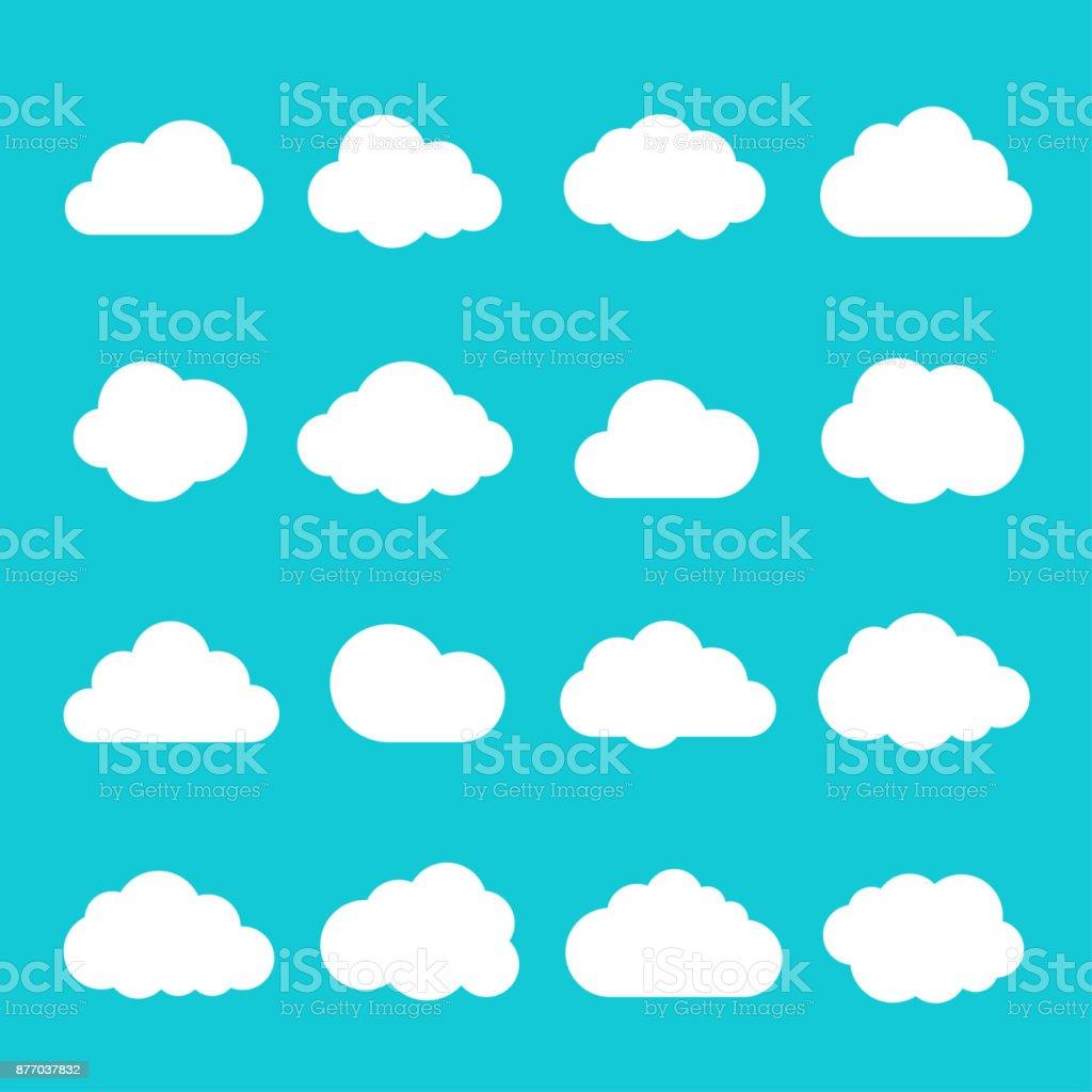 Sky cloud icon set vector art illustration