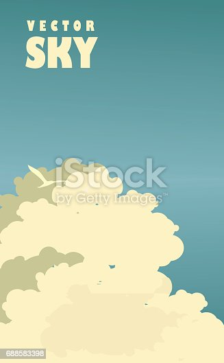 Vector illustration of a retro sky background with beautiful big clouds
