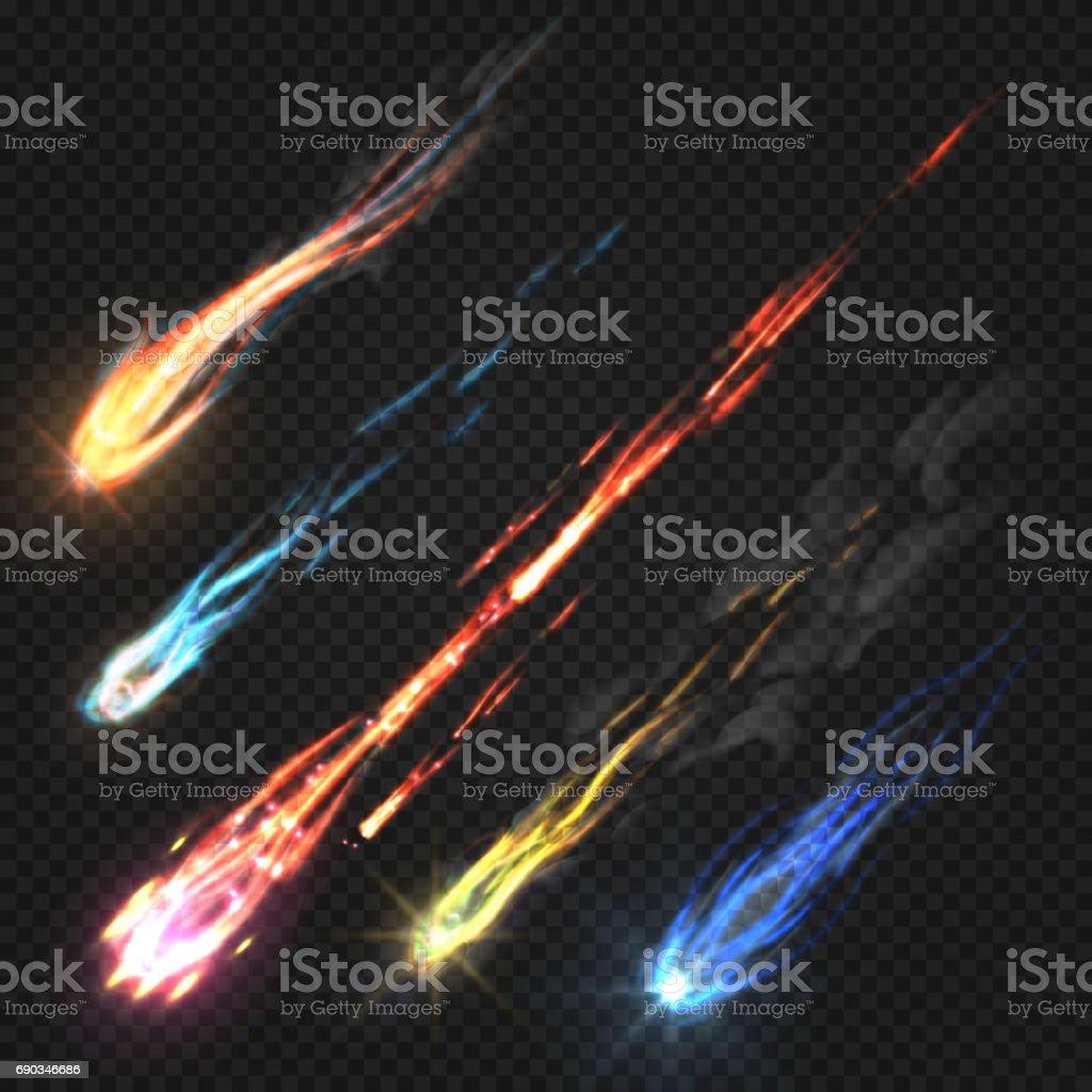 Céu de cometas e meteoritos, foguete trilhas isoladas no fundo transparente escuro - ilustração de arte em vetor