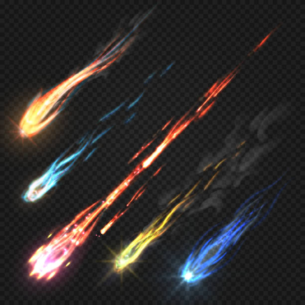 Sky comets and meteorite, rocket trails isolated on dark transparent background vector art illustration