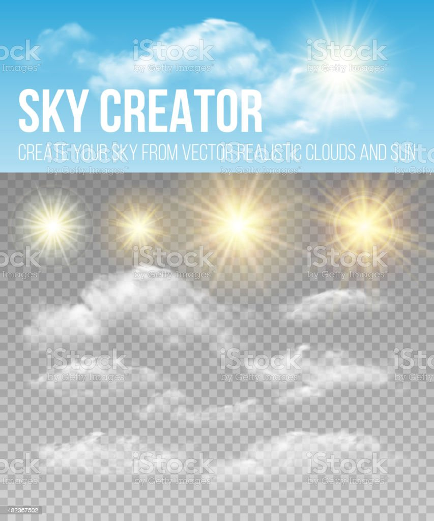 Sky creator. Set realistic clouds and sun. Vector illustration vector art illustration