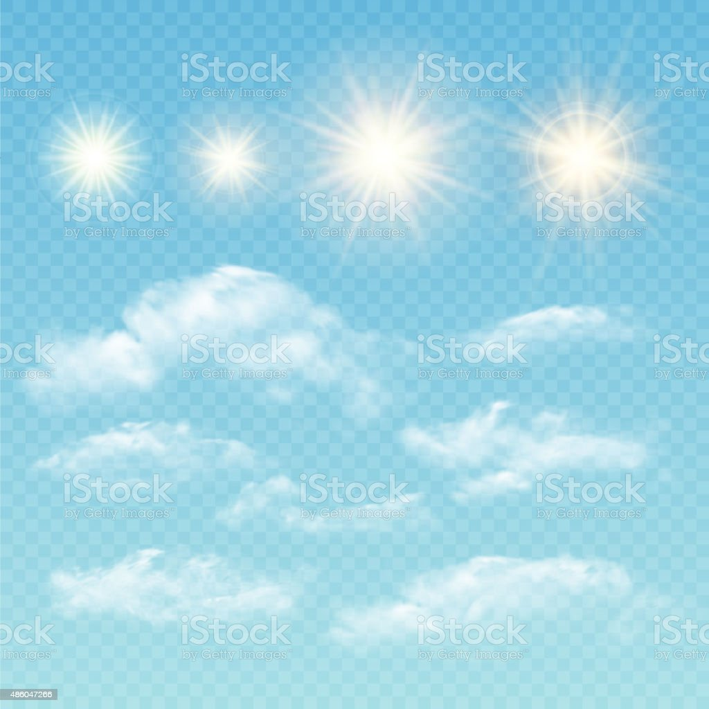 Sky creator. Set realistic clouds and sun. Vector illustration vector art illustration