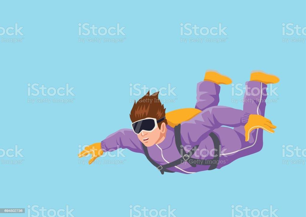 Sky Diver Cartoon vector art illustration