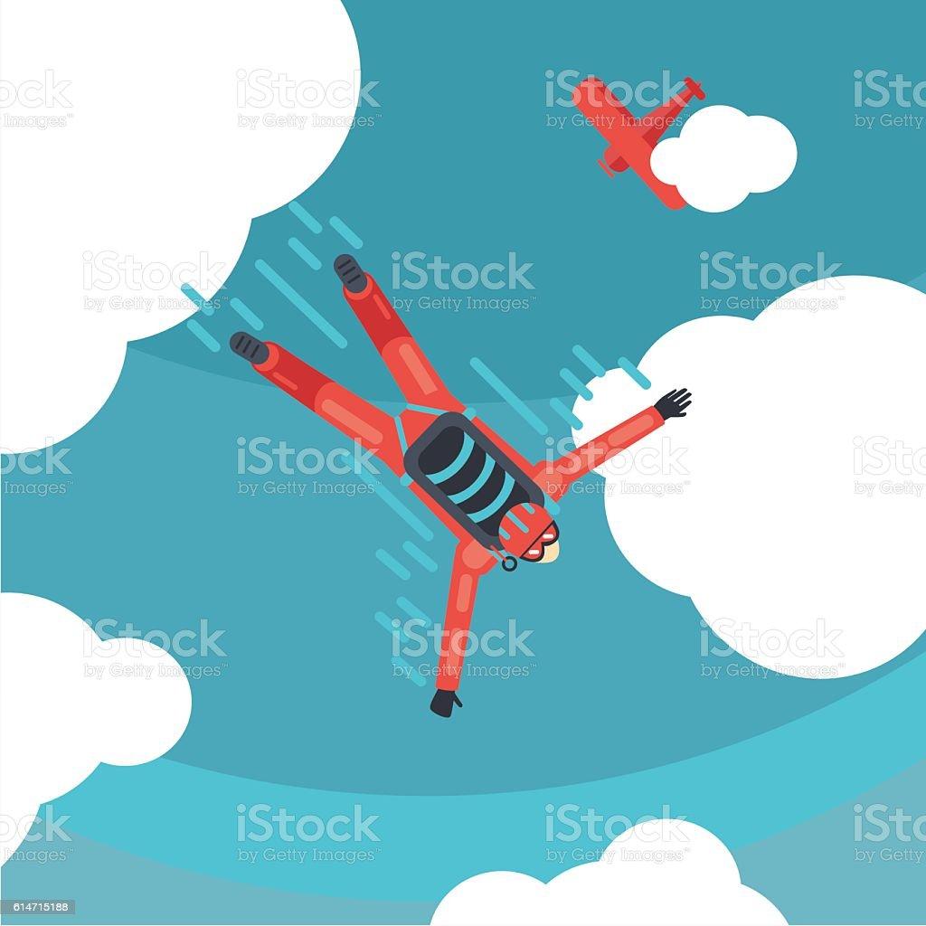 Sky diver top view. Parachute jump. Cartoon vector illustration vector art illustration