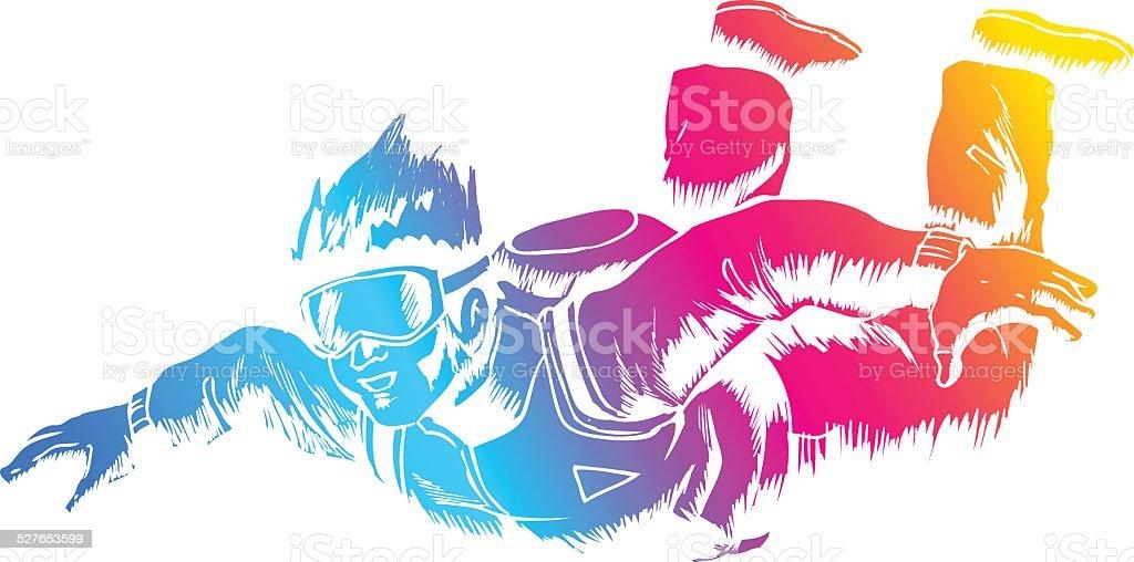 Sky Diver vector art illustration