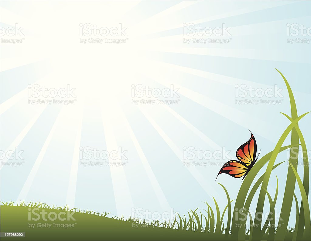 Sky, Field, and Butterfly royalty-free stock vector art