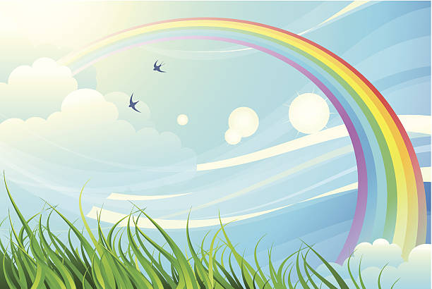 Sky, grass, rainbow Illustration with a rainbow. Abstract sky and grass.EPS8 tranquil scene stock illustrations
