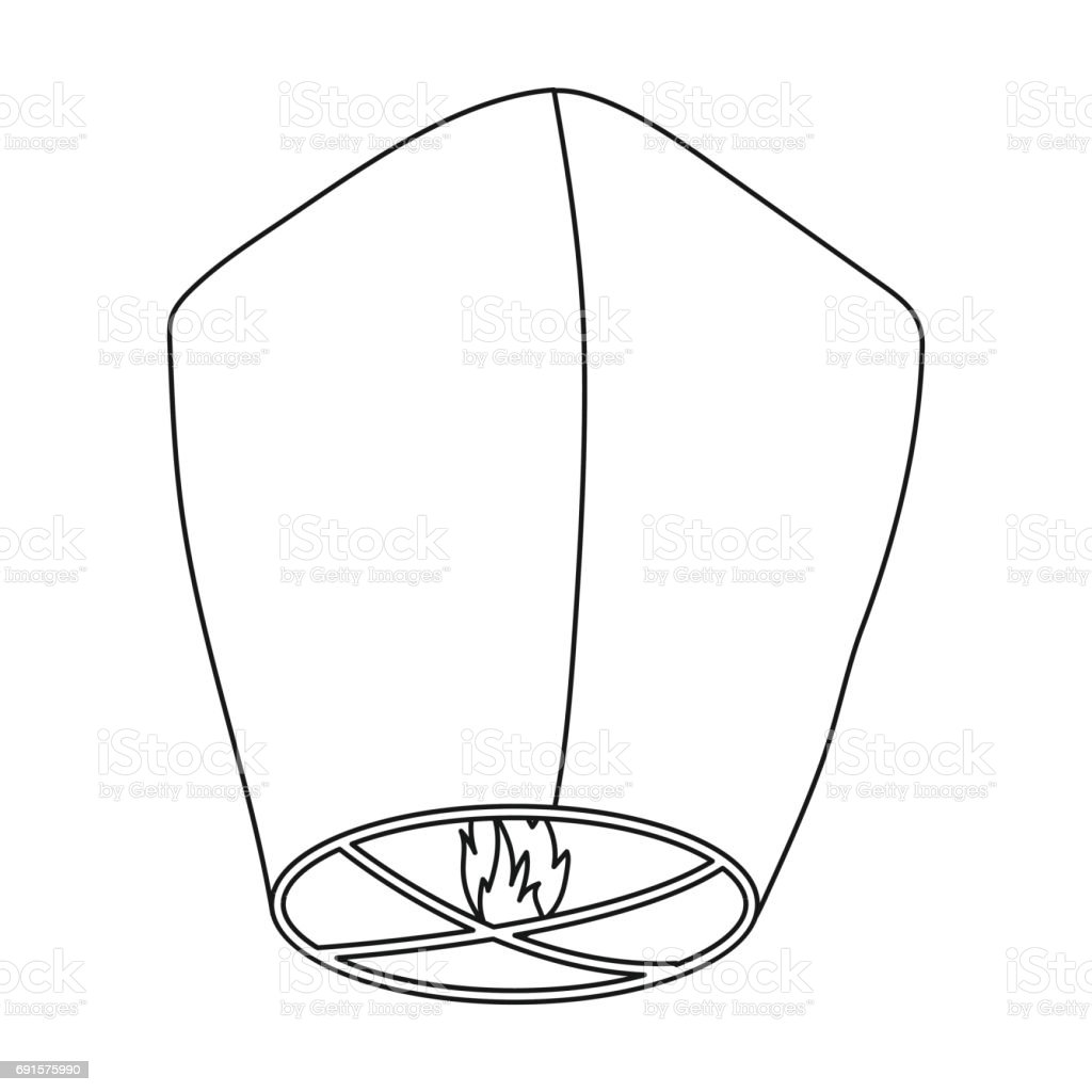 Sky Lantern Icon In Outline Style Isolated On White Background Light Source Symbol Stock Vector Illustration Stock Illustration Download Image Now Istock