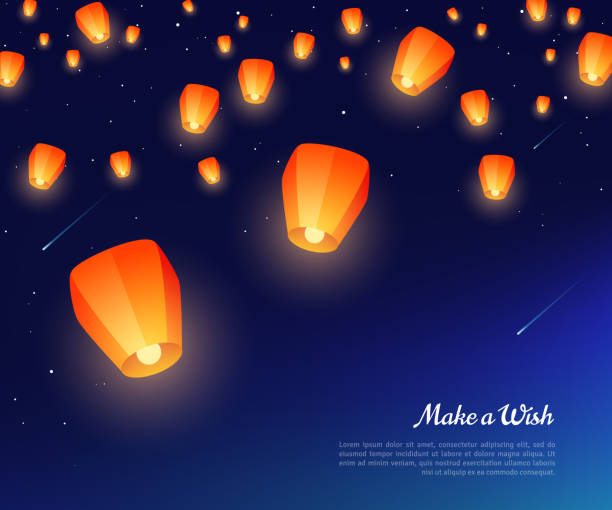 Sky paper lanterns at night Orange paper lanterns floating at night in starry sky. Vector illustration. Traditional design elements for Chinese New Year or Mid Autumn Festival. lantern stock illustrations