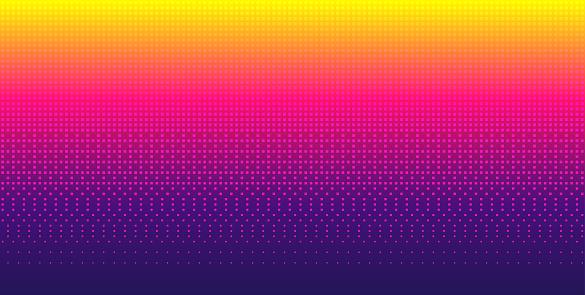 Sky pixel background gradient. Seamless pattern. Retro 8-bit game wallpaper. Bright vector backdrop