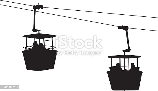vector silhouette of sky ride buckets hanging from cables.