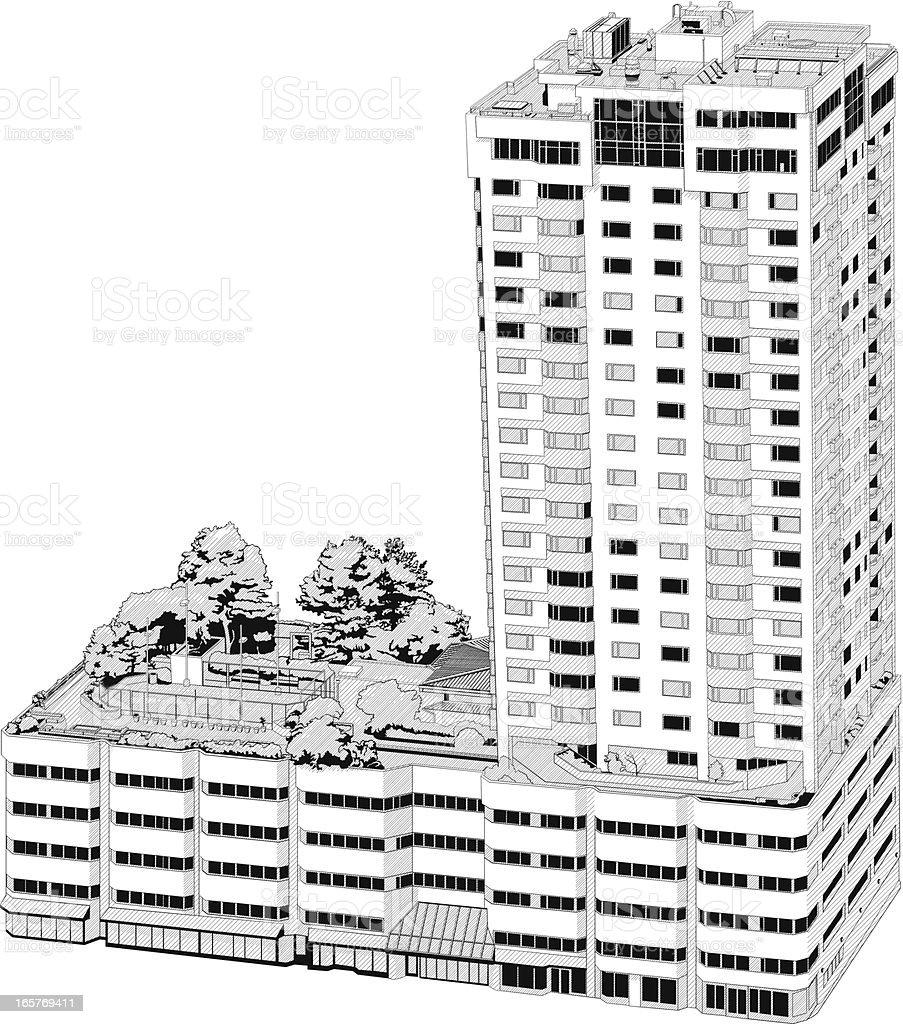 Sky Leibhöhe Bürogebäude Illustrationen - Lizenzfrei Ansicht von oben Vektorgrafik