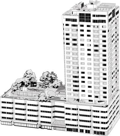 Sky Leibhöhe Bürogebäude Illustrationen Stock Vektor Art und mehr Bilder von Ansicht von oben