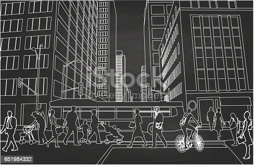 Chalk drawing of a busy downtown street with pedestrians and a bus driving by.