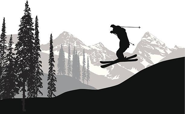 skyskiing - skifahren stock-grafiken, -clipart, -cartoons und -symbole