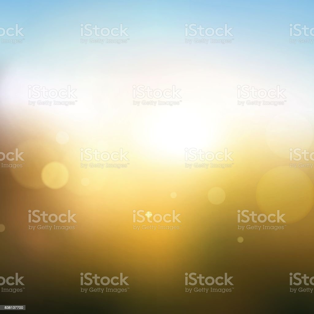 Sky & Sun. Realistic Blur Design. Abstract Shining Background. Vector illustration vector art illustration