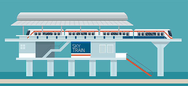 Sky train Station Flat Design Illustration Icons Objects vector art illustration