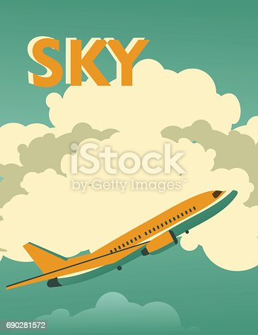 Vector illustration of a vintage sky poster background with a flying passenger airplane