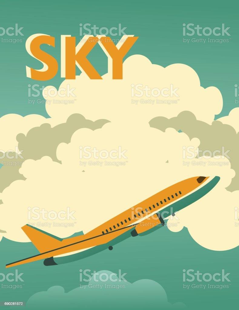 Carteles vintage de cielo - ilustración de arte vectorial