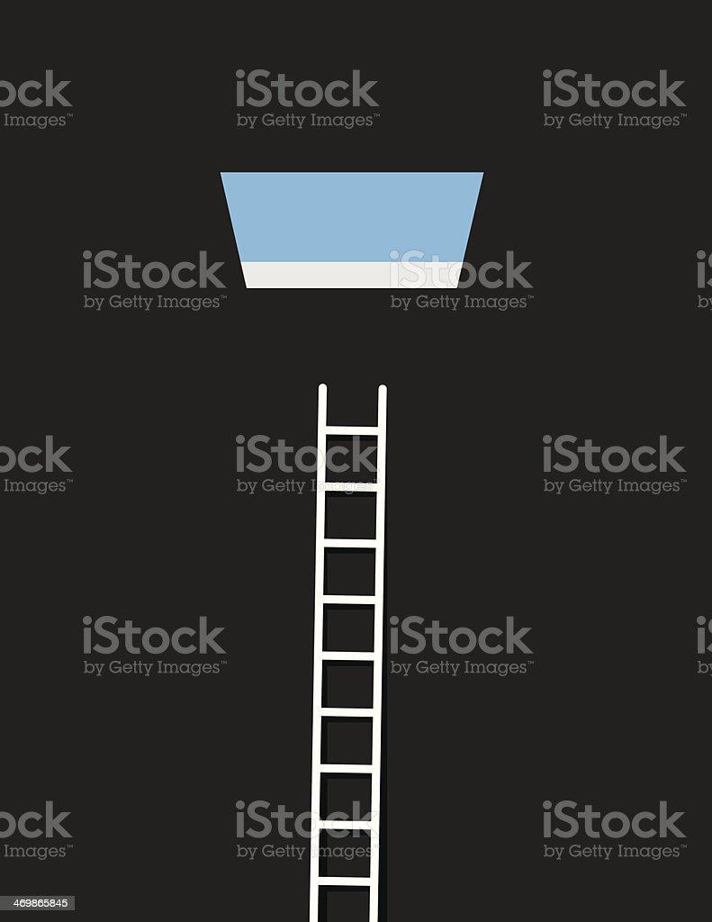 Sky Window Ladder vector art illustration