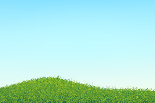 Hillock with horizontal area. Sky with a soft gradient and abstract chaotic grass. Vector illustration.