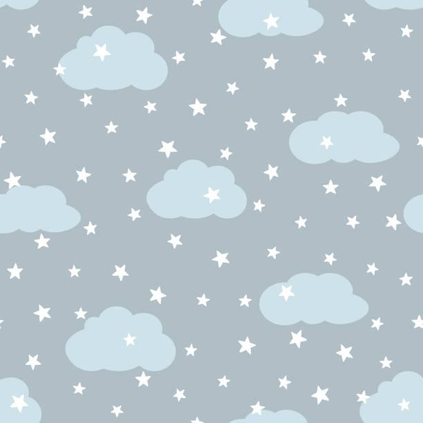 bildbanksillustrationer, clip art samt tecknat material och ikoner med himlen med moln och stjärnor. seamless mönster för barn. - baby sleeping