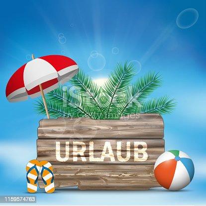 istock Sky Wooden Board Flip-Flops Sunshade Palm Urlaub 1159574763