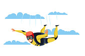 Skydiver flat vector character. Skydiving, parachuting sport cartoon illustration. Parachutist flying through clouds. Extreme activities. Jumping with parachute isolated design element