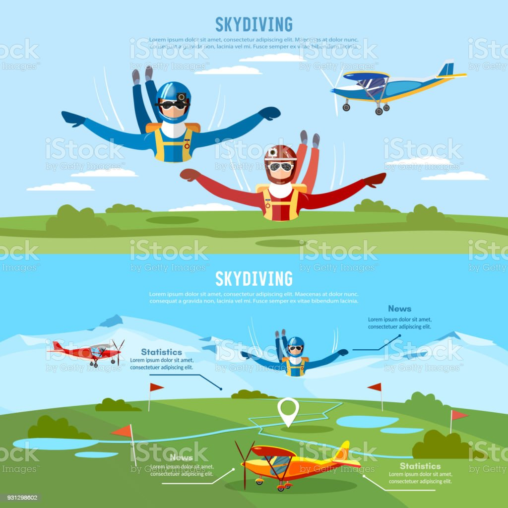 Skydiver jumps from an airplane banner. Skydivers are falling above the cloud, teamwork banner extreme sport vector art illustration