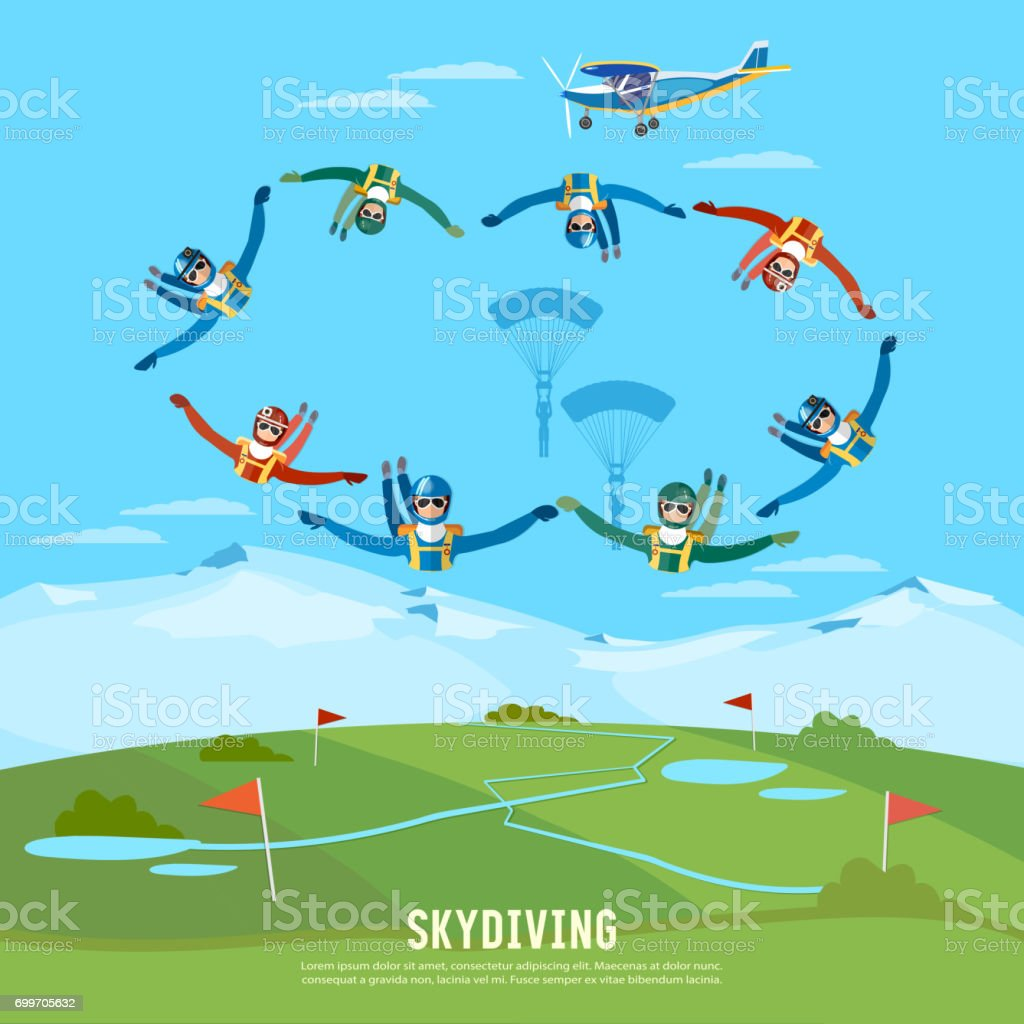Skydiver jumps from an airplane vector. Skydivers are falling above the cloud, teamwork extreme sport concept vector art illustration