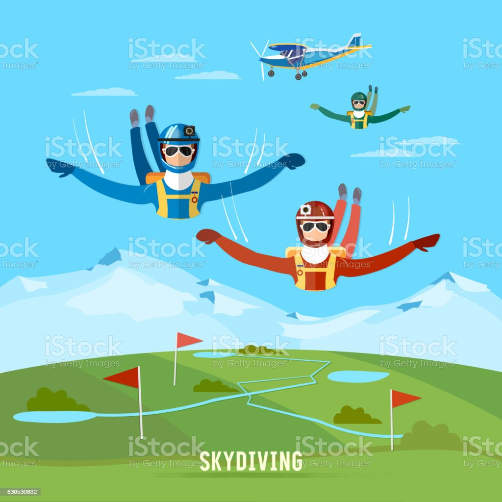 Skydiver jumps from an airplane vector. Teamwork extreme sport concept. Skydivers are falling above the cloud vector art illustration
