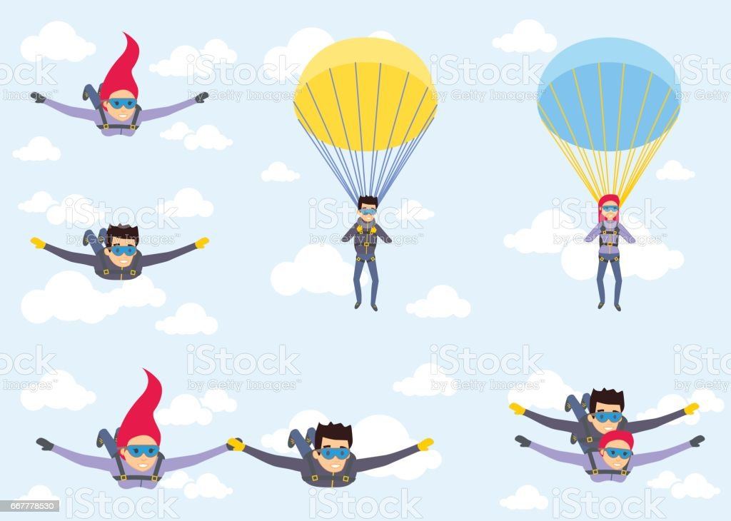 Skydiver man and woman flying in the blue sky. Set of parachutist characters with paratrupers vector art illustration
