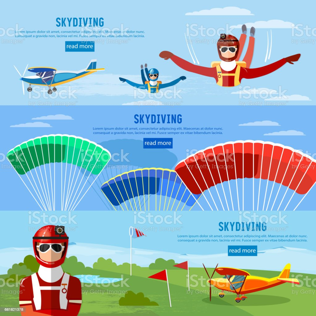 Skydivers are falling above the cloud, teamwork banner extreme sport. Skydiver jumps from an airplane vector vector art illustration