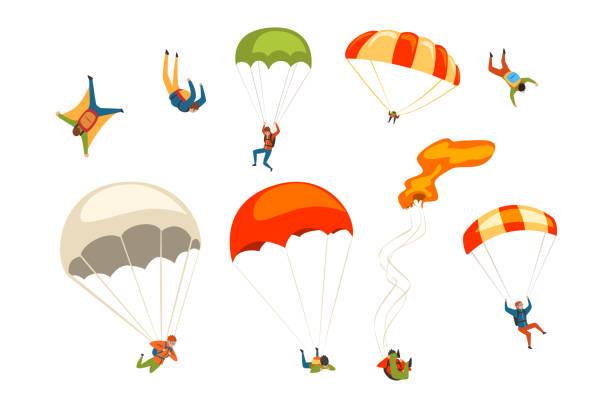 Skydivers flying with parachutes set, extreme parachuting sport and skydiving concept vector Illustrations on a white background Skydivers flying with parachutes set, extreme parachuting sport and skydiving concept vector Illustrations isolated on a white background. parachuting stock illustrations