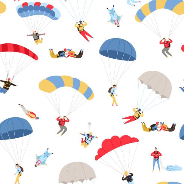 Skydivers seamless pattern vector art illustration