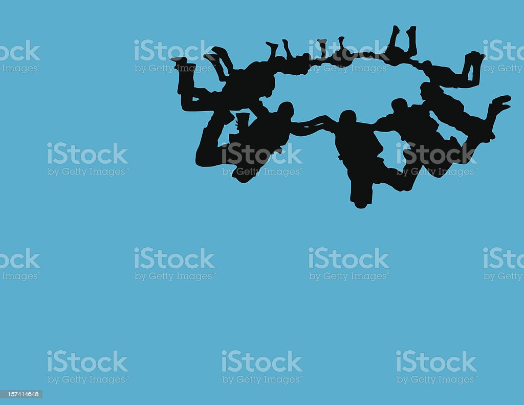 Skydivers Silhouette vector art illustration